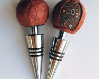 Handmade Copper Wine Bottle Stoppers Set of 2, Polymer Clay Wine Bottle Stoppers, Polymer Clay Handmade, Decoration, Dad gift, Gift for Him