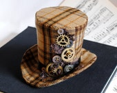 Steampunk Mini Top Hat with Gears and Buttons - Ready to Ship