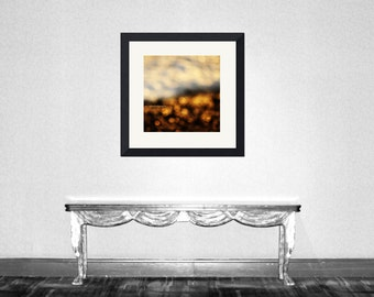 Bokeh of Golden Wave - Ocean Wave Sparkles of Ocean Sparkling Dusk nursery christmas gift autumn winter Fine Art Print 16x16 Limited 1/50