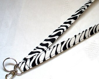 Wavy Stripe Fabric Lanyard Breakaway Lanyard ID Badge Holder ID Clip Key Ring Fob Black White MTO