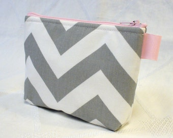 Chevron Fabric Cosmetic Bag Gadget Pouch Zipper Pouch Makeup Bag Cotton Zip Pouch Gray Pink White MTO