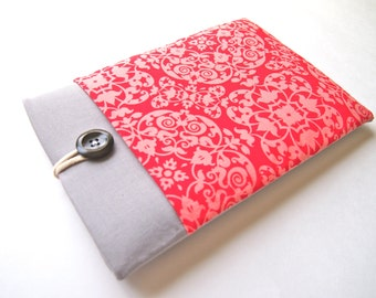 Kindle Sleeve, Amazon Fire 7 Sleeve, Fire HD 8, Fire HD 10 Case Fire HD 6 Sleeve Cover Padded with Pocket - Coral Damask