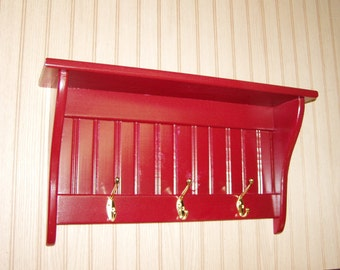 "Coat Rack Display Shelf Wood Wall Shelf Country Coat Rack 24"" Wide Brass Hooks Red"