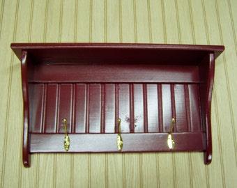 "Coat Rack Display Shelf Wood Wall Shelf Country Coat Rack 24"" Wide Brass Hooks Wine Red"