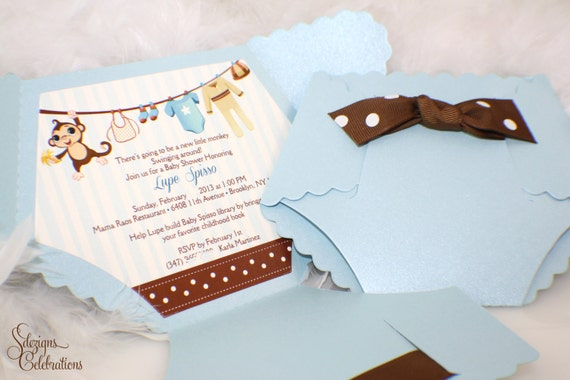 Diaper Baby Shower Invitation  Monkey Baby Shower Invitation
