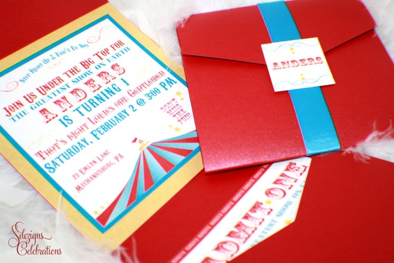 or Carnival Theme Birthday Invitations