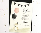 Bird and Balloons - Baby / Kids Birthday Party Invitation