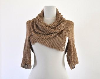 Summer Sweater Cardigan Jacket Tunic Chunky Sweater Wrap Sweater Hand Knit Brown Linen Viscose