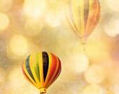 "Hot Air Balloon Photography, Baby Child Nursery Art, Yellow Carnival Hot Air Balloons, Whimsical Child Baby Decor 8"" x 10"" - KathyFornal"