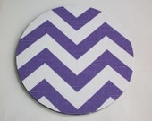 mousepad / Mouse Pad / Mat round or rectangle -  Chevron Purple and White - Zig Zag zigzag