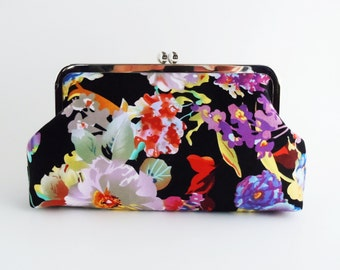 Floral Clutch, Evening Bag, Navy Blue, Purple, Wedding purse, Bridesmaids Clutch, Spade Design