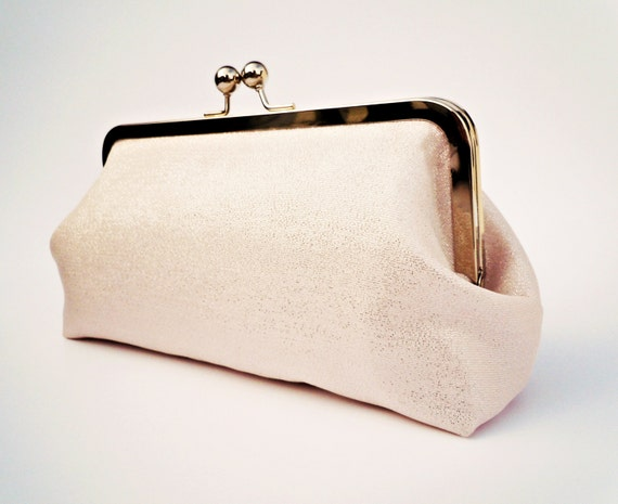 Pink Shimmer Clutch, Bridal Party Gift, Wedding Purse, Cosmetics Bag