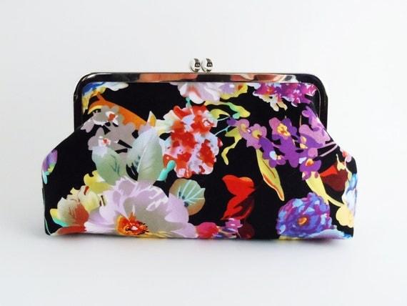 Muti Floral on Black Clutch, Formal Evening Bag, Wedding purse, Bridesmaids Clutch, Spade Design