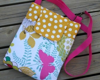 Ready To Ship Monogramming not available Ipad Sholder Bag Funky floral with Mustard Yellow dot Fabric  Front Pocket and Velcro Closure