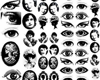 Sepia Decals for Image Transfer Onto Glass 77 Small Faces and Eyes CLEARANCE SALE