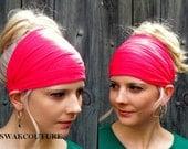 Yoga Headband Head Scarf Wide Headband Hot Pink  or choose Color Stretchy Jersey Headband Women's Cotton Headband Head Wrap Workout HeadBand