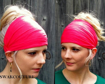 Yoga Headband, Head Scarf, Wide Headband, Jersey Headband, Womens Headband, Turban Head Wrap, Workout HeadBand, Hot Pink or Choose Color