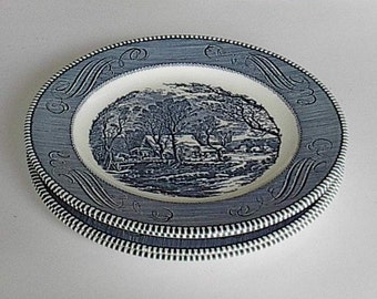Royal Currier Ives Blue and  White Plates