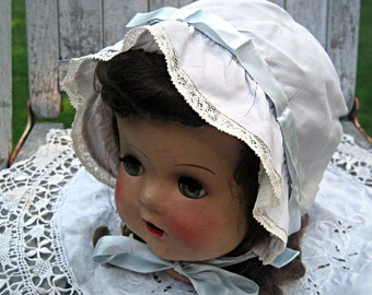 Vintage silk baby bonnet/hat, smocked baby hat, lovely condition, baby shower gift, new baby gift, christening hat, blue baby bonnet