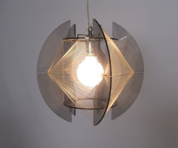 MOD 1960s lucite and string art PENDANT LAMP