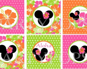 """Diy Minnie Mouse Luau Birthday Cupcake Toppers, 2"""" circles,  Minnie Mouse Luau Party Decoration, Printable, PDF,  INSTANT DOWNLOAD"""