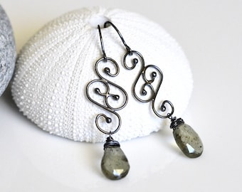 Moss Aquamarine Earrings Oxidized Sterling Silver- Hand Forged Soldered Swirls - Wire Wrapped - Faceted Pear Briolette - Spiral - Torched