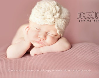 Baby Girl Turban Hat, Crochet Baby Hats, Ivory vintage style turban hat with flower, Newborn baby Hats