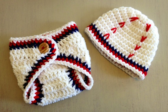 Baseball Hat and Diaper cover set, Baby Boy Hats, Red White Blue Baseball Set for newborn baby, Crochet baby hats
