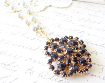 Starry Nights - Vintage Rhinestone Beaded Necklace - 16k Gold Plated