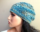 Baby Alpaca Knit Hat Beanie Multicolor Blue Beige for Women Ladies Girls Teens Young Adult, Custom Made Sizing // CHRYSTIE // Color H5