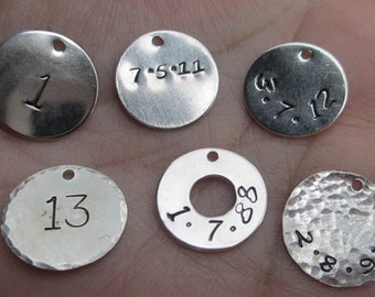 "Sterling Silver Number Charms(5/8"")(1 number tag)"