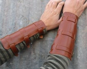 Steampunk Rust Brown Leather Bracers with Antiqued Brass Hardware