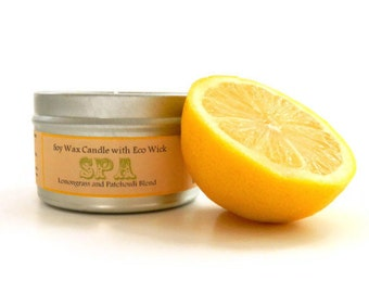 SPA Soy Candle Tin / Container Candle /  lemongrass aromatherapy candle