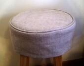 Tan Linen Round Barstool Slipcover with Cushion Bar Stool Slipcover