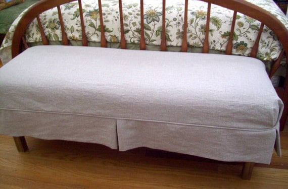 Bench Slipcover With Tailored Skirt, Bedroom Bench Cover, Dining Room Bench  Slipcover
