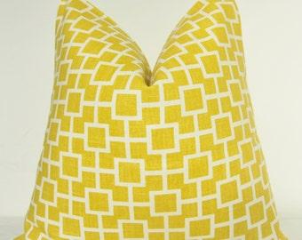 Robert Allen, Pillow Cover, Decorative Pillow, Throw Pillow, Cats Cradle, Sunshine Yellow, Lattice, Fretwork, Trellis