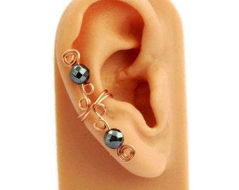 Ear Cuff Small Black Copper