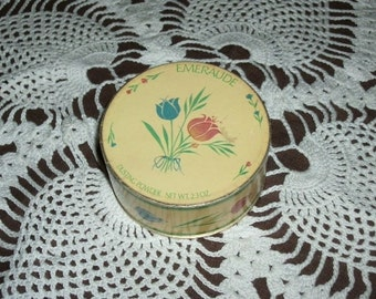 1960s, Emeraude Dusting Powder Box, 3 1/2 in across, 1 1/2 in deep