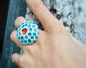 Geometric Dots Ring Red and turquoise ceramic fashion jewelry