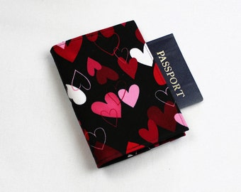 Fabric Passport Cover - Red Hearts on Black, Valentine's Day