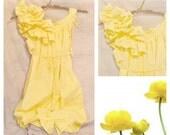 Buttercup Maternity Dress Ruffle Baby Shower Duckling, Yellow, Sunflower Knee Length Custom Patisserie Womens