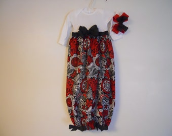 Boutique Floral Red and Black Baby Layette Soo Pretty Great Coming Home Outfit Look