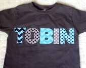 Boy Personalized Shirt -Toddler T Shirt  Chevron and Polka Dots on a Slate Gey -Toddler Shirts and Youth Sizes