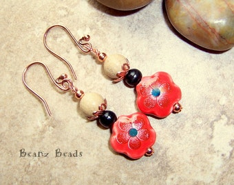 Spring Fling Red Porcelain Flower Dangle Earrings with Wood, Grain Stone, and Copper