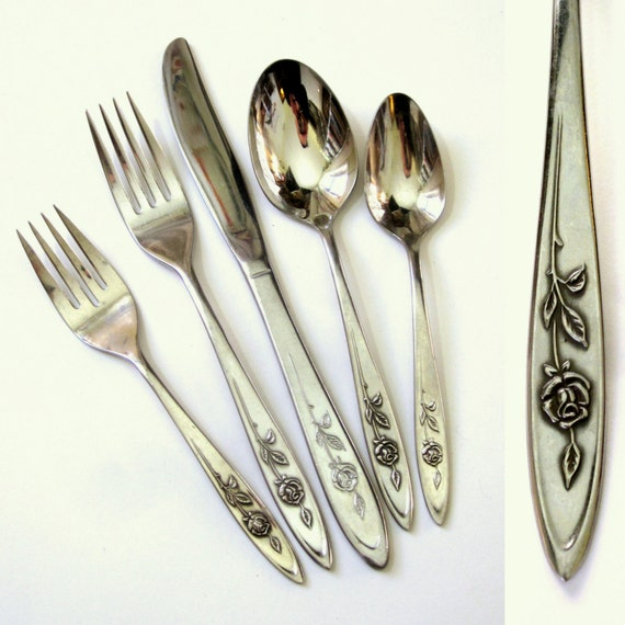 Oneida Community My Rose Stainless 54pc Flatware Set 60s 10