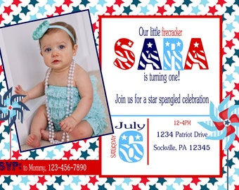 Perfectly Patriotic Birthday Party Invitation- Print Your Own