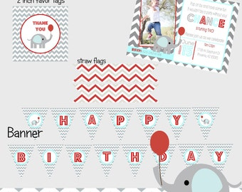 Red and Gray Elephant Party Pack - DIY Printable