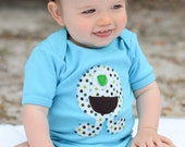 SALE // Baby Boy Clothes // Monster Bodysuit // One Piece // Aqua Polka Dot One eyed Monster Applique // Size 12-18 months