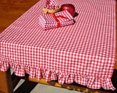 Ruffled Red and White Gingham Table Runner