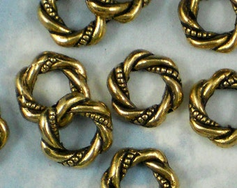 20 Love Knot Gold Beads Loop Rope Bead Frame 11mm Antiqued (P956)